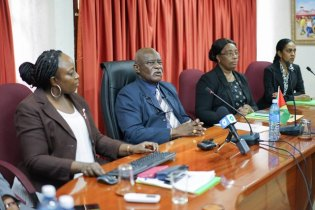 Minister of Citizenship, Mr. Winston Felix (second from left) during the meeting between representatives of Guyana and Cuba on providing the framework to review migratory patterns between the two countries.