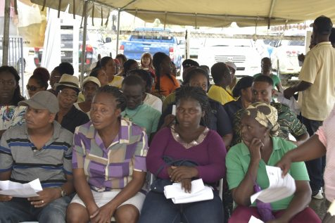 A section of the gathering awaiting their turn to enter the CH&PA Booth at the 'Government comes to you' outreach held at RDC Office, Fort Wellington