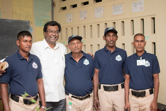 Minister of Public Security, Khemraj Ramjattan with members of the Number 63 Village Community Policing Group.