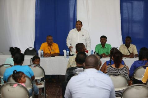 Prime Minister, Moses Nagamootoo addressing residents of Port Mourant, Berbice