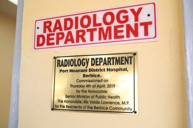The plaque which signifies that the Radiology department has been officially commissioned at the Port Mourant Hospital.