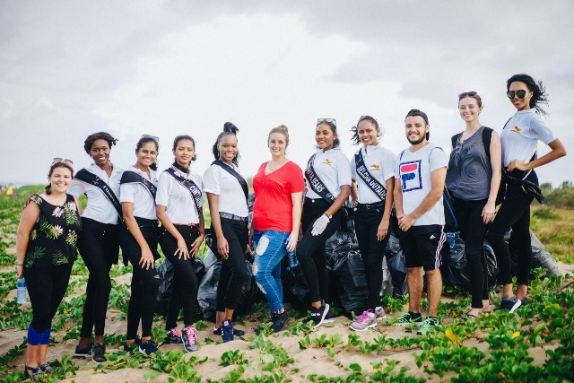 Delegates of Miss Earth Guyana 2019 along with some Peace Corps Volunteers at No. 63 Beach clean-up activity.