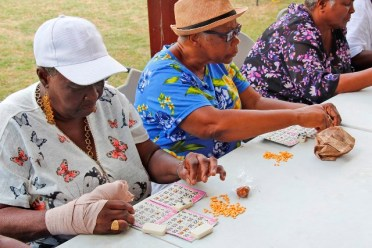 Some of the elderly playing bingo at the fun-day.