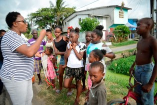 Minister within the Public Infrastructure Ministry, Annette Ferguson giving the youth a pep-talk for safety on Easter.
