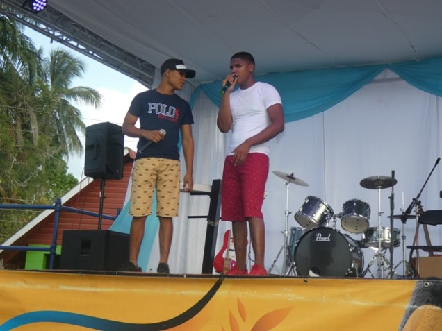 """Visually impaired brothers; Relon and Roell Sumner performing their own song, """"Is Town Week Time Again""""."""
