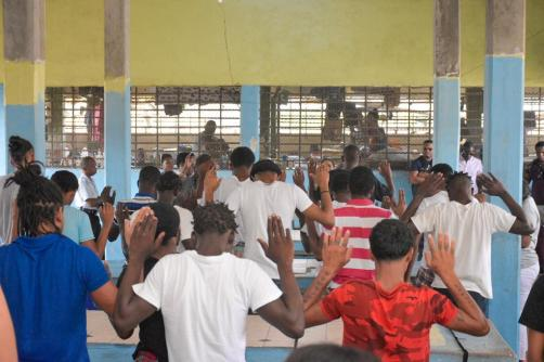 Minister Broomes and her team pray with the young inmates at Timehri Prison on Mother's Day