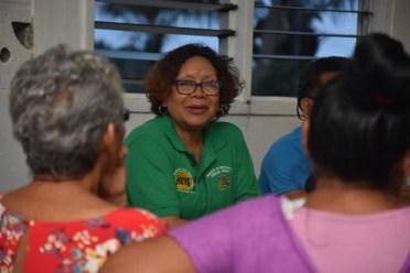 Minister Valerie Garrido-Lowe speaking to the ladies of Rincon, Moruca.