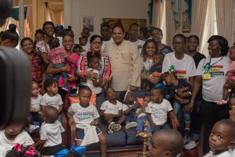Prime Minister, Moses Nagamootoo, and his wife, Mrs. Sita Nagamootoo, with the parents, teachers and children of Akelo ABC Playgroup and Daycare.