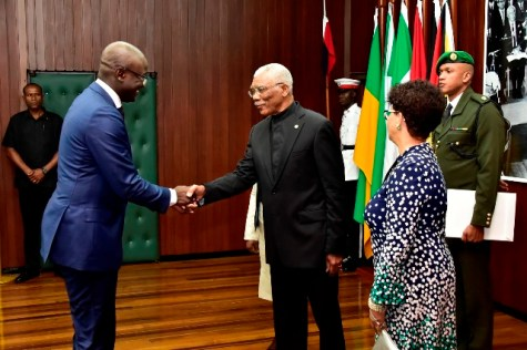 President David Granger greets the newly accredited Ambassador of Suriname to Guyana, Mr. Ebu Rohno Jones.