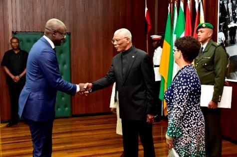 President David Granger greets the newly accredited Ambassador of Suriname to Guyana, Mr. Ebu Rohno Jones.