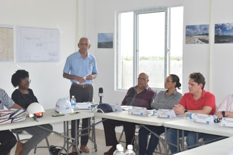 Minister of Communities, Ronald Bulkan delivers remarks prior to touring the facility at Diamond on the East Bank of Demerara.