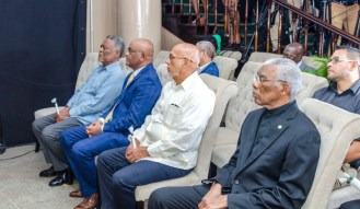 President David Granger along with former presidents Samuel Hinds, Bharrat Jagdeo and Donald Ramotar.