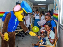The Paw Patrol Mascot interacting with children who are in-patients at GPHC.
