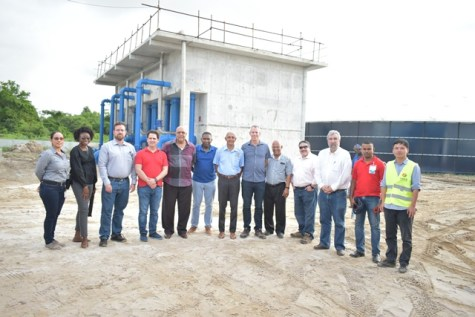 Minister of Communities, Ronald Bulkan, GWI's Managing Director, Dr. Richard Van West-Charles and IDB executives following the tour of the Diamond Water Treatment Plant on Thursday.
