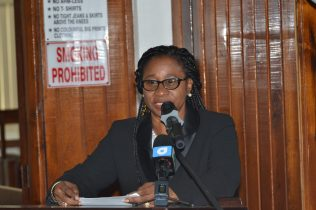 Chancellor of the Judiciary (ag), Justice Yonette Cummings-Edwards, while addressing the gathering at the launch, of the Sexual Offences Court in Berbice