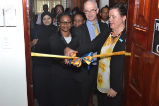Cutting of the ribbons at the doors of the new Sexual Offences Court in Berbice
