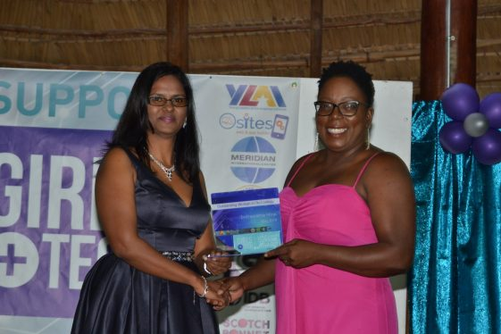 Receiving their awards for outstanding women in technology fields