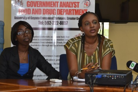 Principal Analytical Scientific Officer, Government Analyst Food and Drug Department, Tandeka Barton [right] with Chief Meat and Food Inspector of the City Public Health Department.