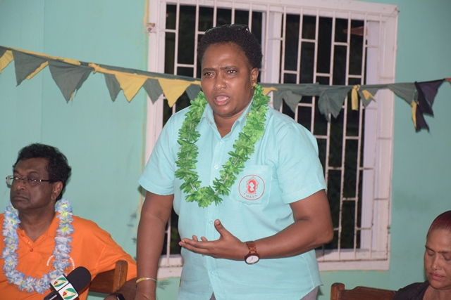 Minister within the Ministry of Communities, with responsibility for Housing, Annette Ferguson addressing residents at the community meeting.