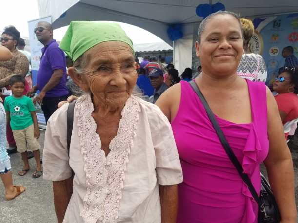 Capoey residents Jean and Grace Edwards at the 'Government comes to you outreach' at Damon Square, Anna Regina, Essequibo