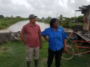 In the picture are Regional Executive Officer (REO) Jennifer Ferreira - Dougall and Estate Manager of Region Three GUYSUCO Yudistir Manna looking on as the workers fix the breached koker