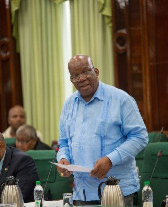 Finance Minister, Winston Jordan, presenting the supplementary paper, during the 114th sitting of the National Assembly, asking for funding for GECOM.