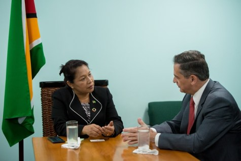 Minister of State, Dawn Hastings-Williams during her discussions with Chilean Ambassador to Guyana, Patricio Marshall.