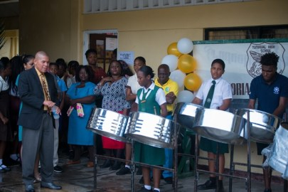 Steel Pan rendition at Tutorial High School, Woolford Avenue.