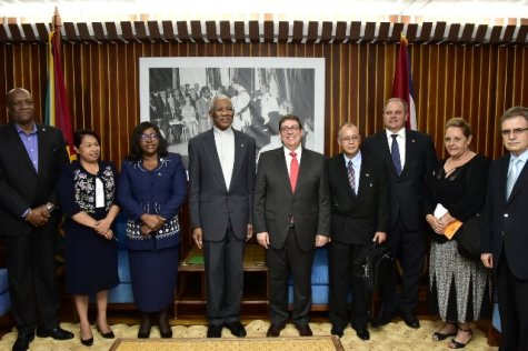 From left: Director General of the Ministry of the Presidency, Mr. Joseph Harmon, Minister of State, Mrs. Dawn Hastings- Williams, Minister of Foreign Affairs, Dr. Karen Cummings, President David Granger and Cuban Minister of Foreign Affairs, Mr. Bruno Rodriguez Parrilla. The other members of the Cuban delegation are Ambassador Eugenio Martinez Enriquez, Director General of Latin America and the Caribbean Division, Mrs. Mirta Granda Averhoff, official from the Multilateral Directorate of the Ministry of Foreign Affairs, Ambassador Guillermo Vazquez Moreno, Minister's Office and Ambassador Narciso Amador Socorro, Cuban Ambassador to Guyana.