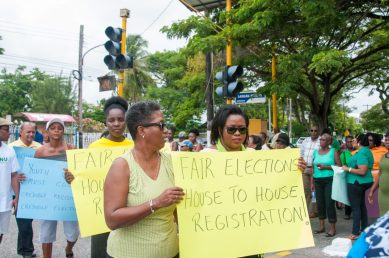 AFC Women's Arm, Chairperson protest GECOM calling for fresh house to house registration