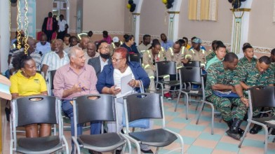 Section of the audience, including participants of the third safety course of the Guyana Mining School and Training Centre.