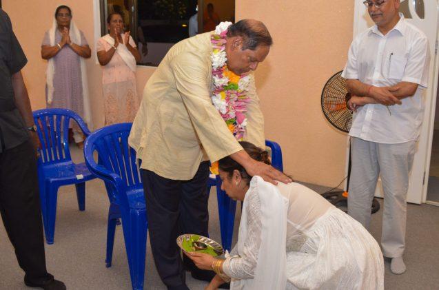 Prime Minister Nagamootoo blessing Professor Nalini Boodhoo