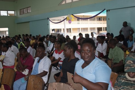 Students at the Career Fair at New Silvercity Secondary School, Silvercity, Linden, Region 10.