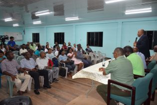 Residents being engaged by Minister of Natural Resources, Raphael Trotman