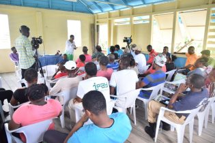 Minister of Public Health, Volda Lawrence addressing residents of Maria Johanna in Wakenaam