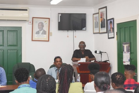 Minister within the Ministry of Social Protection, with responsibility for Labour, Keith Scott addressing the youths at the forum held today at the Department of Labour.