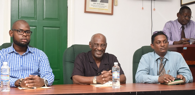 [In the photo, from left to right] Programme Coordinator of the Sophia Community Association, Orin Nelson, Minister within the Ministry of Social Protection, with responsibility for Labour, Keith Scott, Representative of the Ministry of Education, Owen Pollard and Senior Probation Officer and Social Services, Aggrey Azore [extreme right].