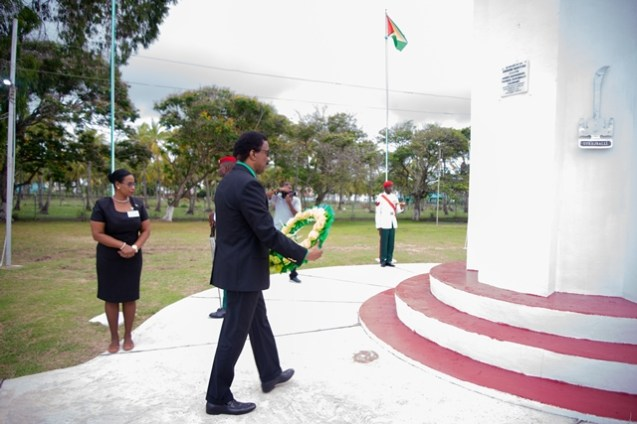 Attorney General and Minister of Legal Affairs Basil Williams, S.C., lays a wreath at the monument of the Enmore Martyrs.