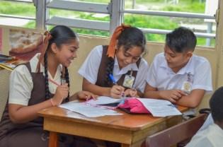 Top five: Three of the school's top five. Venisha Lall [centre] and best friend Gevasha Cyndoharpaul.