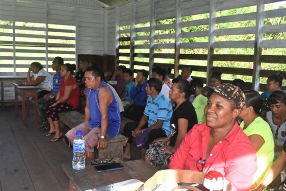 Residents and farmers at the meeting spearheaded by Minister within the Ministry of Indigenous Peoples' Affairs Valerie Garrido-Lowe