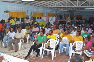 Section of residents at the Somatta Point community engagement in Grove on the East Bank of Demerara.