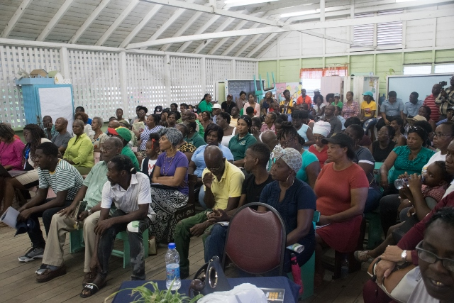 Residents at the community meeting held at Plaisance Primary School.