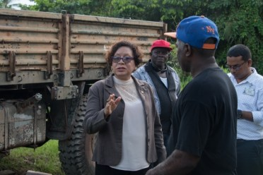 Minister within the Ministry of Indigenous Peoples' Affairs, Hon. Valerie Garrido-Lowe speaking with residents during a walkaboyt at Supply.