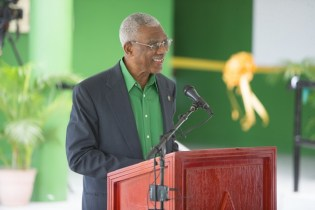 His Excellency, President David Granger addressing the gathering at the commissioning of the Hinterland Student Dormitory.