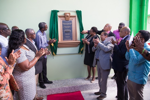 Senior officials of the Ministry of Public Health and ministers of government including Prime Minister Moses Nagamootoo and Minister of Public Health after the unveiling of the plaque.