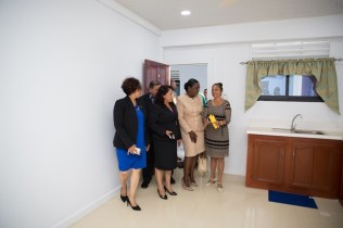Minister within the Ministry of Indigenous Peoples' Affairs, Hon. Valerie Garrido-Lowe, Minister of Education, Hon. Dr. Nicolette Henry and Minister of State, Dawn Hastings-Williams touring the Hinterland Student Dormitory.