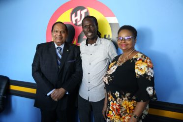 Prime Minister, Hon. Moses Nagamootoo, Radio Host, Stan Gouveia of 94.1Boom FM and Minister of Public Health, Hon. Volda Lawrence after the interview on the 'Hot Seat'