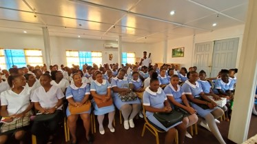 The first batch of Patient Care Assistants and Community Health Workers during their orientation.