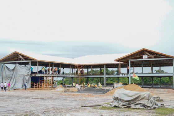 The Hinterland Green Enterprise Centre under construction in Annai, Region 9