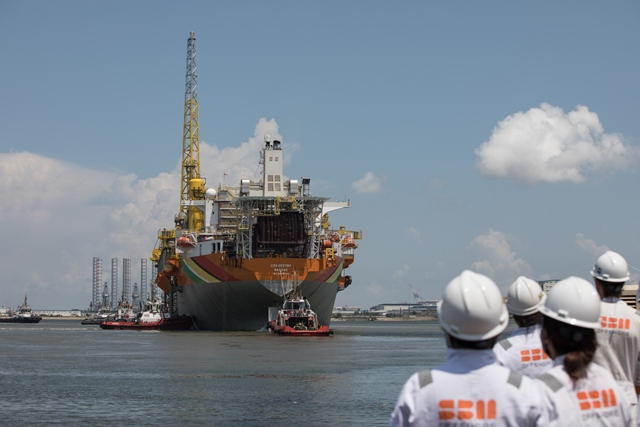 The Liza Destiny as it departs for Guyana's waters.